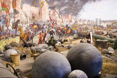 Fall of Constantinople. ISTANBUL, TURKEY - OCTOBER 14, 2015:Fall of Constantinople in 1453. Captured by Mehmet. Panorama Museum Military, Istanbul, Turke royalty free stock images