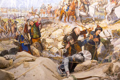 Fall of Constantinople. ISTANBUL, TURKEY - OCTOBER 14, 2015:Fall of Constantinople in 1453. Captured by Mehmet. Panorama Museum Military, Istanbul, Turke stock photos