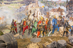 Fall of Constantinople. ISTANBUL, TURKEY - OCTOBER 14, 2015:Fall of Constantinople in 1453. Captured by Mehmet. Panorama Museum Military, Istanbul, Turke stock images