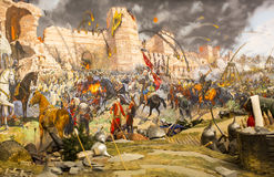 Fall of Constantinople. ISTANBUL, TURKEY - OCTOBER 14, 2015:Fall of Constantinople in 1453. Captured by Mehmet. Panorama Museum Military, Istanbul, Turke royalty free stock photos