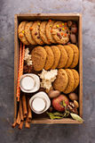 Fall cookies in a box stock photos