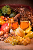 Fall cornucopia setting. Thanksgiving or harvest fal seasonl cornucopia setting Stock Image