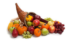 Fall cornucopia on a White back ground Stock Images