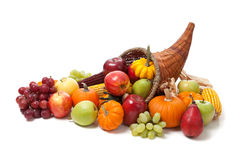 Fall cornucopia on a White back ground Stock Image