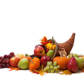 Fall cornucopia on a White back ground Royalty Free Stock Images