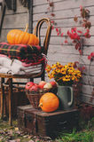 Fall at country house. Seasonal decorations with pumpkins, fresh apples and flowers. Autumn harvest Stock Photography