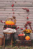 Fall at country house. Seasonal decorations with pumpkins, fresh apples and flowers. Autumn harvest Stock Image