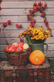 Fall at country house. Seasonal decorations with pumpkins, fresh apples and flowers. Autumn harvest Royalty Free Stock Photos