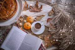 Fall cozy day with book and coffee. Fall cozy day with cup of coffee, dried leaves, book stock photography
