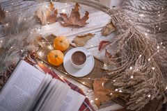 Fall cozy day with book and coffee. Fall cozy day with cup of coffee, dried leaves, book royalty free stock photos