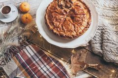Fall cozy day with pie and coffee stock photos