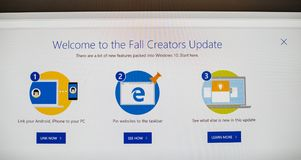 Fall Creators Update of the Microsoft Windows 10 OS. PARIS, FRANCE - OCR 31, 2017: Welcome screen with the buttons of the Fall Creators Update of the Microsoft Royalty Free Stock Photography