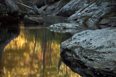 Fall creek with rocks and trees. Picture of river flow with rocky boulders and fall leaves Royalty Free Stock Images