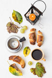 Fall Crescent Rolls and Black Coffee. On a White Background Stock Photos
