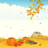 Fall crop. Illustration of a beautiful harvest day at a farm Stock Photography