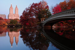 Fall dawn at Bow Bridge in Central Park. Stock Photos