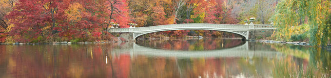 Fall dawn panorama of Bow Bridge in Central Park. Stock Image