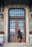 A fall day with a beautiful girl. A fall day at the castle somewhere in Transylvania with a beautiful girl Stock Images