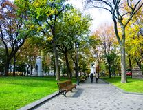 A fall day in the city. Photo taken by a beautiful autumn morning in Montreal, Quebec, Canada, 2013 Stock Photography