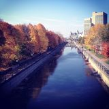 A fall day in Ottawa, Canada overlooking the Rideau Canal on th. E way to the university of Ottawa stock image