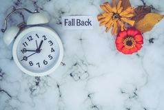 Fall Back Daylight Saving Time concept with white clock on marble. Fall Daylight Saving Time concept with white clock and flowers, flat lay, marble royalty free stock photo