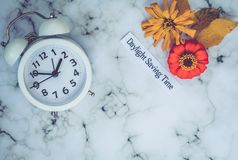 Fall Daylight Saving Time concept with white clock on marble. Fall Daylight Saving Time concept with white clock and flowers, flat lay, marble stock photo