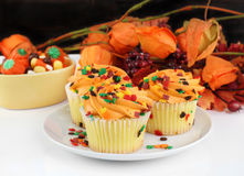 Fall decorated cupcakes and Halloween candy Stock Image