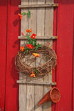 Fall decoration on barn Royalty Free Stock Images