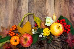 Fall decoration with pumpkin, apples, maple leaves, pine cones,. Thanksgiving or fall decoration with pumpkin, apples, maple leaves, pine cones, rowan berries Stock Photo