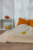 Fall decorations in cozy simple bedroom Stock Image