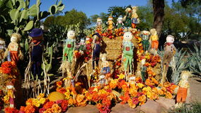 Fall decorations at Ethel M Chocolate Factory and Botanical Gardens. Fall decorations of scarecrows, chrysanthemums and pumpkins outside Ethel M Chocolate Royalty Free Stock Image