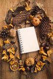Fall decorations frame with notebook copy-space in the middle Stock Image