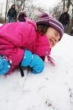 Fall in den Schnee Lizenzfreie Stockfotos