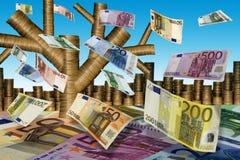 Fall der Blätter (Euro) lizenzfreies stockfoto