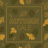 Fall der Blätter Herbst VERKAUF Förderndes Plakat mit Hand gezeichnetem Herbstlaub stockfotografie