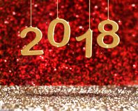 Fall der Wiedergabe 3d des neuen Jahres 2018 Goldfarbam Perspektivenrot Lizenzfreies Stockbild