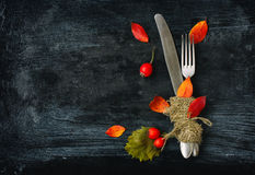 Fall dinner, fork and knife Stock Photo