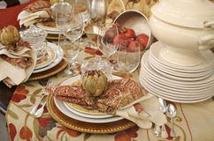 Fall dinner table setting Royalty Free Stock Photography