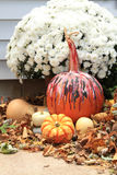 Fall display with pumpkin decorated for Halloween near mums, gourds and fall leaves Royalty Free Stock Photography