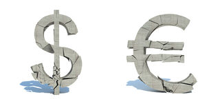 Fall of the dollar and the euro, crush.  Stock Image