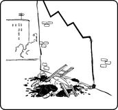 Fall of the Dow Jones. Cartoon showing fall what or (for instance economic) of the factors in graph Royalty Free Stock Photos