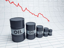 Fall down oil barrel. Fall down of oil barrel, 3d rendering royalty free illustration