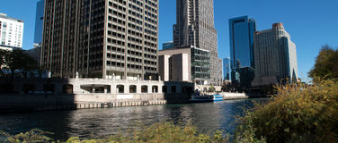 Fall in downtown Chicago, Illinois. Along the Riverwalk of downtown Chicago's loop Stock Photo