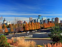 Fall in downtown Minneapolis. Yellow trees in downtown Minneapolis at fall Stock Photography