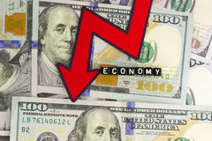 The fall of the economy GDP Stock Image