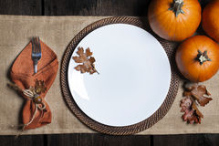Fall Empty Plate Stock Image
