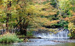 Fall Escape. Fall trees and waterfall over stream stock images