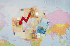 The fall of the euro Stock Photography