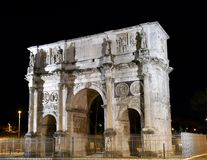 Arch of Constantine. This is a Fall evening picture of the historic Arch of Constantine located in Rome, Italy.  This the largest triumphal archin Rome, it Stock Photo
