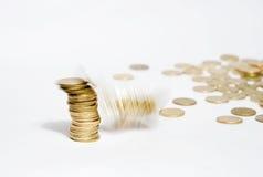 fall för 2 mynt Arkivbilder